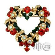 Crystal Rhinestone Heart Christmas Ladies Brooch | Jewelry for sale in Lagos State, Surulere
