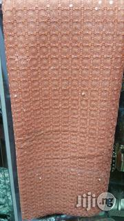 Peach Swiss French Sequins Pearl Lace Fabric | Clothing for sale in Lagos State