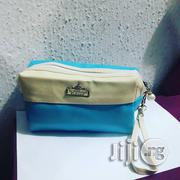 Portable Faux Leathermake-Up Bag - Blue/Cream   Bags for sale in Lagos State, Ikotun/Igando