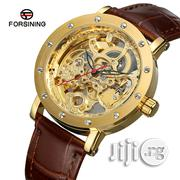 Forsining Men's Gold Leather Strap Bracelet Watch | Watches for sale in Lagos State, Apapa