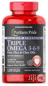 Puritan's Pride Triple Omega 3-6-9 Fish and Flash Oils | Meals & Drinks for sale in Lagos State, Surulere