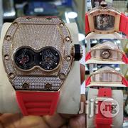 Automatic Full Iced Richard Mille Wristwatches With Red Strap | Watches for sale in Lagos State, Lagos Island