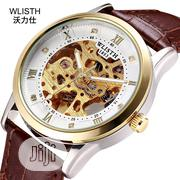 Waterproof Genuine Leather Mechanical Automatic Men's Watch   Watches for sale in Lagos State, Ikeja