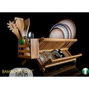 Bamboo Craft Company Foldable Bamboo Dish Rack Plus Utensil Caddy | Kitchen & Dining for sale in Rivers State, Port-Harcourt