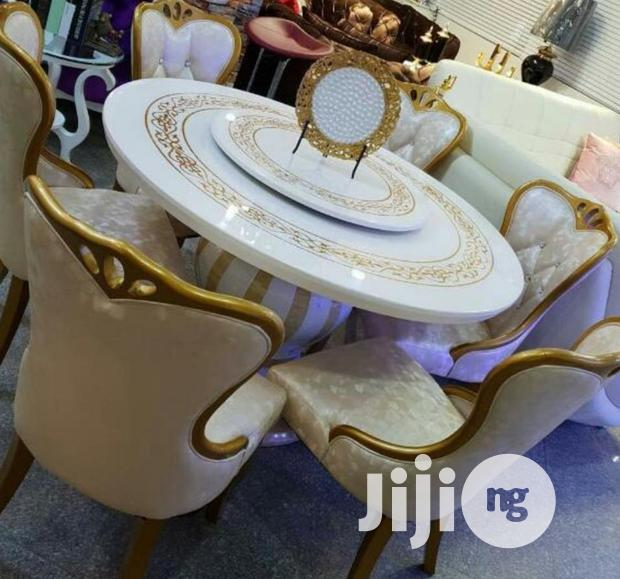 Executive Set of Rolling Marble Dining Table