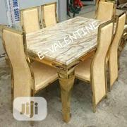 High Quality Gold Marble Dining Table With 6 Chairs   Furniture for sale in Lagos State, Ikeja