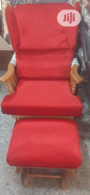 Wooden Red Rocking Chair and Foot Stool | Furniture for sale in Lagos State, Lekki Phase 2
