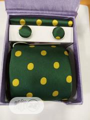 Set Of Green With Yellow Dots Designers Tie With Cufflinks | Clothing Accessories for sale in Lagos State, Lagos Island