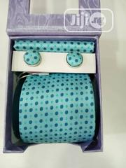 Set Of Green With Blue Dots Designers Tie With Cufflinks | Clothing Accessories for sale in Lagos State, Victoria Island