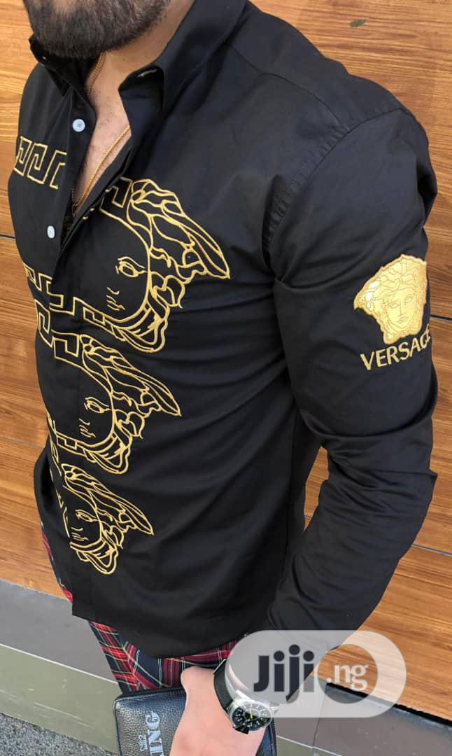 New Original Man Versace Black Collar Shirt | Clothing for sale in Lagos Island, Lagos State, Nigeria