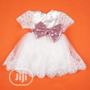White Lace With A Pink Sequence Bow For Christening And Dedication | Children's Clothing for sale in Lagos State, Apapa