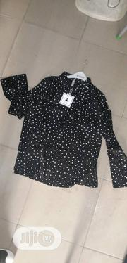 High-Neck Polkadot Chiffon Top Black and Cream Colour | Clothing for sale in Lagos State, Orile