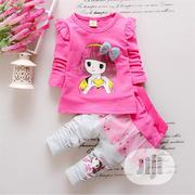 Girls Pink 2 Pcs Lovely Clothing Set Long Sleeve Top and Trouser   Children's Clothing for sale in Lagos State, Agboyi/Ketu